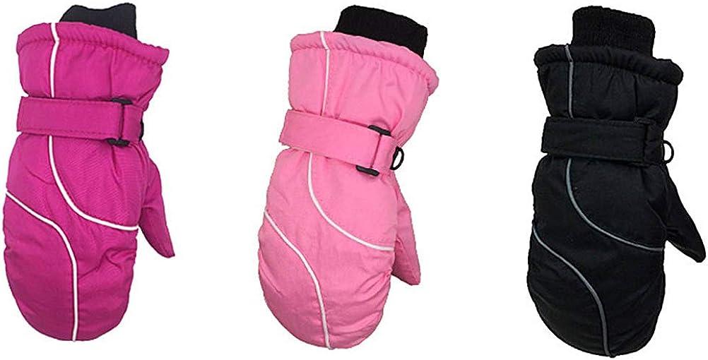Kids Winter Snow Mittens Velvet Lined Unisex Ski Mittens Water-Resistant Winter Warm Mittens for Children 4-9 years old
