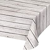 White Wood Grain Plastic Tablecloths, 3 ct