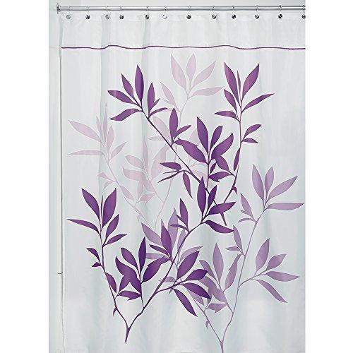 iDesign Leaves Duschvorhang | Designer Duschvorhang in der Größe 180,0 cm x 200,0 cm | schickes Duschvorhang Motiv mit Blättern | Polyester violett