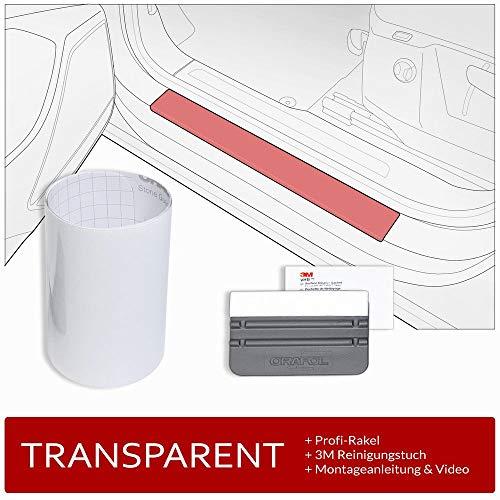tuning-art FE105 Lámina Protectora de umbral de Puerta con raspadore, Color:Transparente