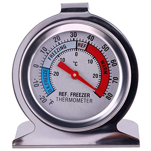 Teabelle Termómetro para frigorífico o congelador, tipo dial, acero inoxidable, soporte para...