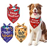 HOMIMP Dog Bandana Sets Festival Dog Scarf Halloween Thanksgiving Day Christmas Durable And Washable Dog Neck Scarf for Small Medium Large Dogs