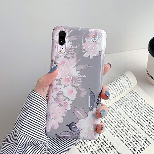 Herbests Kompatibel mit Huawei P20 Hülle Glänzend Bunt Blumen Weich Silikon Handy Schutzhülle Ultra Dünn Handytasche Case TPU Silikon Hülle Case Tasche Rückseite Glitzer Hülle,Grau