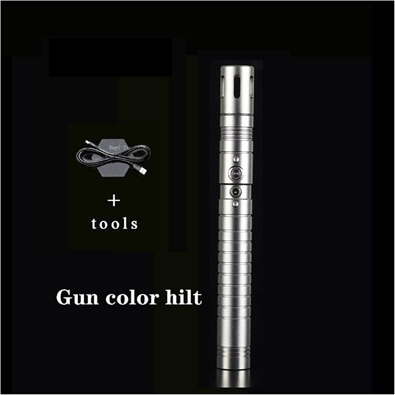 LSXLSD Sable De Luz Láser Poder Pesado Arma De Duelo Mango De Metal Escenario Juego De Roles Efecto De Sonido Espada Láser Juguete 80 Cm ( Color : RGB - Gun hilt )