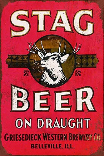 Jesiceny New Tin Sign Stag Beer on Draught Aluminum Metal Sign 8x12 Inches