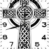 BeeTheOnly Reloj de Pared Celta intrincados Motivos de Nudo Celta sin Fin en la Cultura Popular Símbolo de la espiritualidad Blanco y Negro Dormitorio Sala de Estar Cocina Reloj de casa