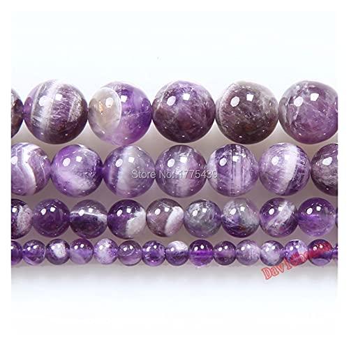 YSJJAXR Piedra de ágata Natural Color de Color púrpura Mixto Redondo Amatistas Perlas de Piedra Natural 6 8 10 12mm Collar de Pulsera de Bricolaje for la fabricación de Joyas