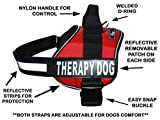 Therapy Dog Harness Service Working Vest Jacket Removable Patches,Purchase Comes with 2 Therapy Dog Reflective pathces. Please Measure Dog Before Ordering. (Girth 30-42', Red)