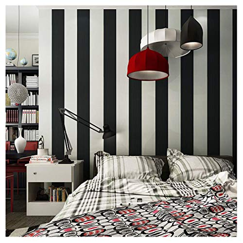 Blooming Wall: Modern Fashion Black&white Stripes Textured Wallpaper Wall Mural Wallpaper Wall Paper Roll, 20.8 In32.8 Ft=57 Sq.ft