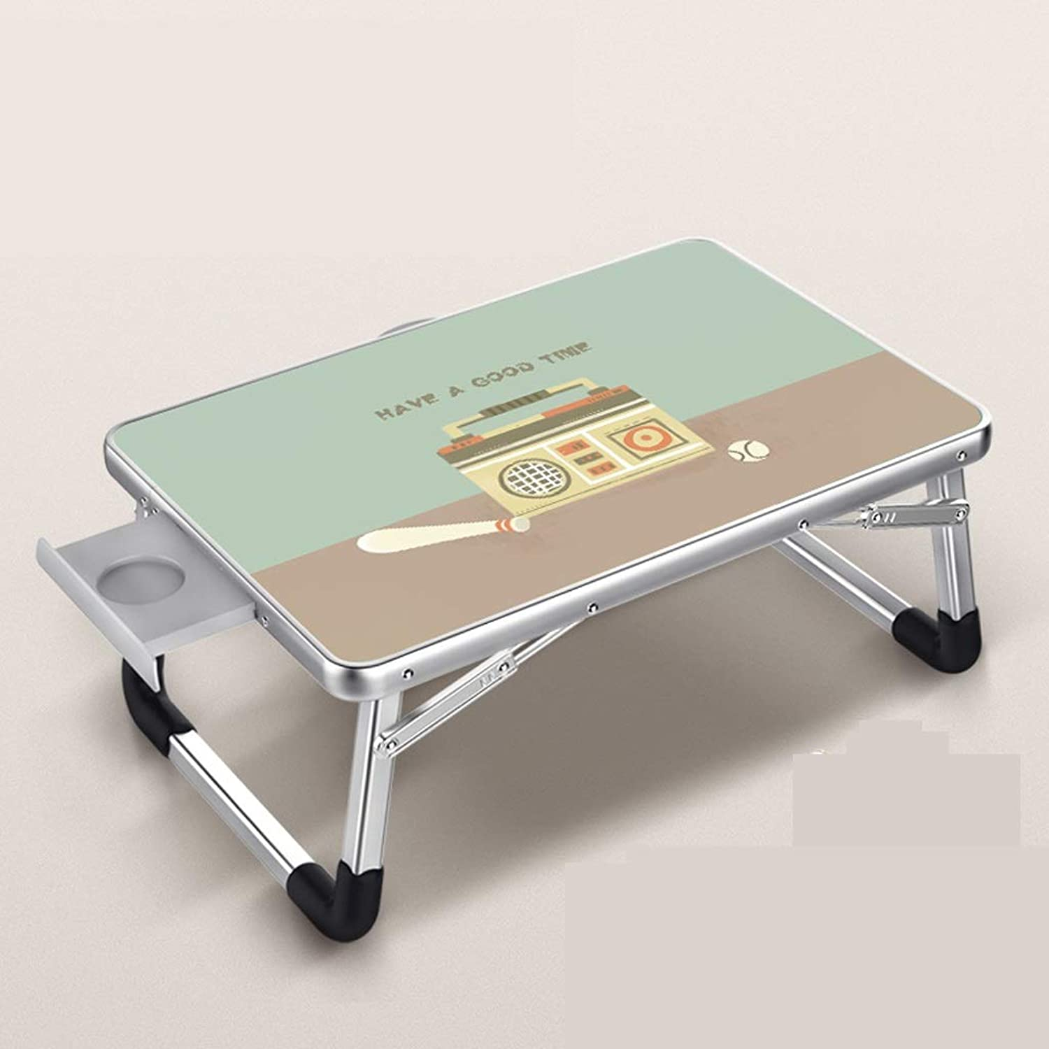 JSFQ Folding Table Bed Small Table Household Portable Folding Table Lazy Student Dormitory Table Metal Folding Table Folding Table (Size   70×50cm)