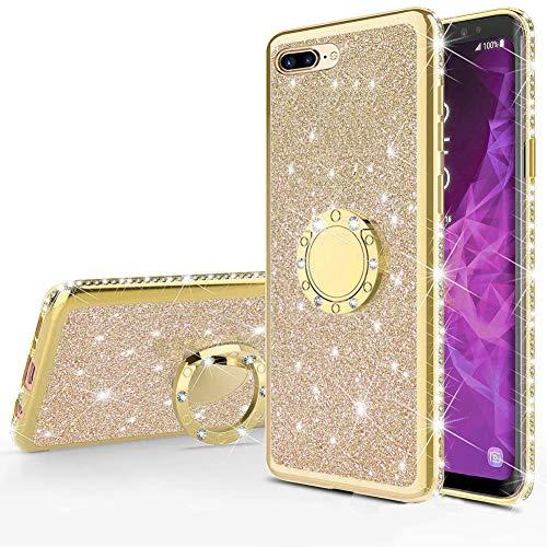Homikon Silikon Hülle Kompatibel mit iPhone 7 Plus/8 Plus Überzug TPU Bling Glitzer Strass Diamant Schutzhülle mit 360 Grad Ring Ständer Soft Flex Durchsichtig Silikon Handyhülle Tasche Case - Gold