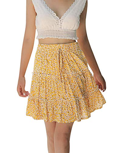 Eledobby Verano Faldas Mujer Boho Mini Falda Estampados Florales/Polka Pot Ladies A-Line...
