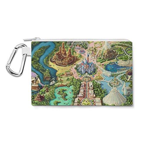 Disneyland Colorful Map Canvas Zip Pouch - Multi Purpose Pencil Case Bag in 6 maten XL Canvas Pouch 12x9 inch Groen