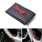 ETbotu Auto zubehör - Geschenke für Männer,38cm Durchmesser handgemachte Mikrofaser Leder Lenkrad Abdeckung rot + schwarz Cover