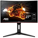 AOC C27G1 27' Curved Frameless Gaming Monitor FHD 1080p, 1800R VA panel, 1ms 144Hz, FreeSync, DP/HDMI/VGA, Height adjustable, VESA, 3-Year Zero Dead Pixels,Black