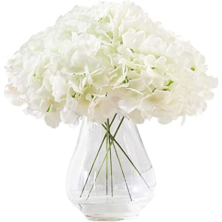 Hydrangea Flower Bushes Silk Flowers Bridal Bouquets Wedding Centerpieces Artificial Hydrangea  5 Bushes  25 Heads Cream