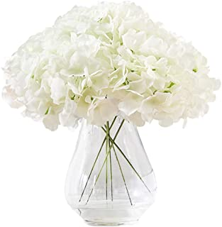 Kislohum Hydrangea Silk Flower White 10 Heads Artificial Hydrangea Silk Flowers Head for Wedding Centerpiec...