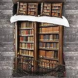 SXCVD 3 Piezas Juego Funda De Diseño Personalizado,Una Maravillosa Biblioteca de Libros Antiguos en España,Ropa de Cama Set 1 Edredón 2 Fundas de Almohada Microfibra jueg(135 * 210cm)
