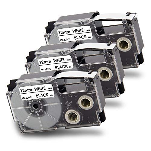 Pristar 12mm x 8m Compatibile Nastri per Etichette Casio XR-12WE XR12WE Nastro Nero su Bianco for Casio EZ KL-200 KL-120 KL KL-60 KL-750 KL-780 KL-7000 KL-7400 KL-820 KL-70e KL-100e KL-8100 KL-100