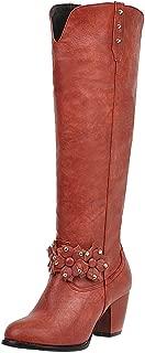 Zanpa Women Elegant Knee High Boot Wide Calf Block Mid Heels