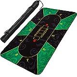 Maxstore XXL Pokermatte, bis zu 10 Spieler, Maße 160x80cm, grün-schwarz, inkl. Tragetasche, Unterseite Naturkautschuk, wasserabweisend