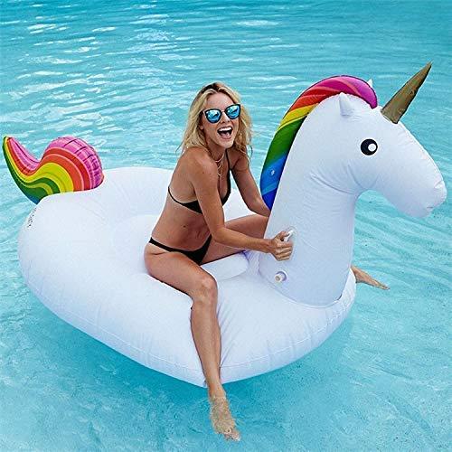 Airlab Aufblasbares Einhorn Luftmatratze Wasser Aufblasbares Einhorn Pool Floß, Schwimmendes Einhorn Schwimminsel Pool Spielzeug, Sommerspielzeug Strand Party Kinder Erwachsene