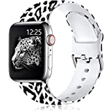 Muranne Compatible with Apple Watch Band SE 40mm 38mm iWatch Series 6 5 4 3 2 1 for Women Men Black Leopard, S/M
