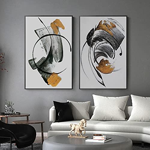 HYY-YY Abstraitgéométrique Noir Gris Motif Toile walll Art Print Affiche Peinture Quadro Photo Bureau décoration Murale à la maison19,6