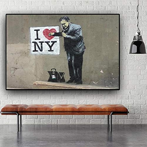 YCCYI Banksy Hold Olympics Ring Graffiti Art Abstract Canvas Painting Posters and Prints Wall Art Home Decor Wall Pictures 40x60cm(16x24in) Inner Frame