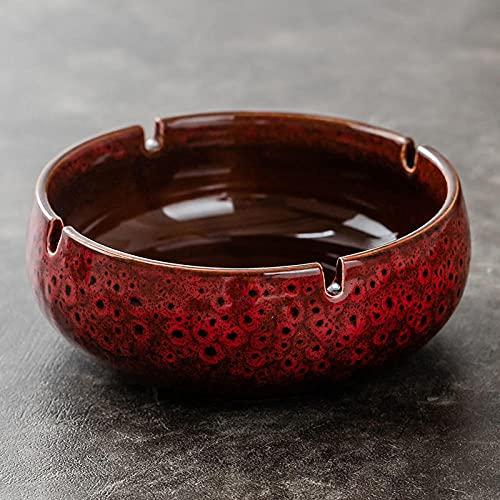 Cenicero de cerámica retro hoja de corcho hogar sala de estar oficina cenicero multifunción cenicero grande horno rojo