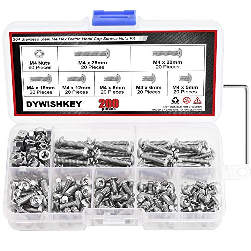 DYWISHKEY 200 Pieces M4 x 5mm/6mm/8mm/12mm/16mm/20mm/25mm Stainless Steel 304 Hex Button Head Cap Bolts and Nuts Kit