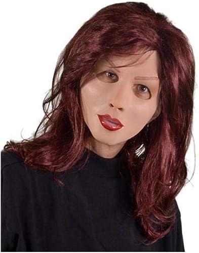 Horror-Shop Frauen Latex Maske mit roter Langhaarperücke für Travestieshows & Karneval