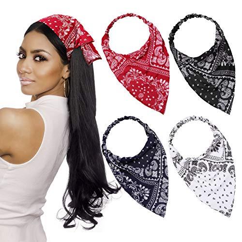 4 Pieces Elastic Hair Scarf Headband Print Vintage Turban Hair Scarves Headwrap Triangle Kerchief Head Scarf Hair Bandanas for Women Girls