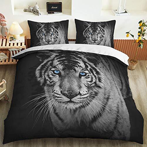 HGFHGD Bettbezug mit grauem Tiger, 3D-Digitaldruck, für Schüler, Erwachsene, Kinder, Bettbezug, Kissenbezug