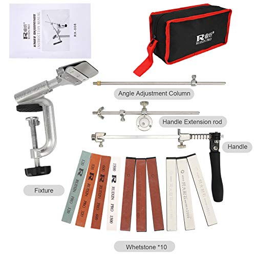 Knife Sharpener Professional Stainless Steel Kitchen Chef Knife Sharpener Home Knife Sharpening Kit Abrasive Holding System Tools With 10 Whetstones