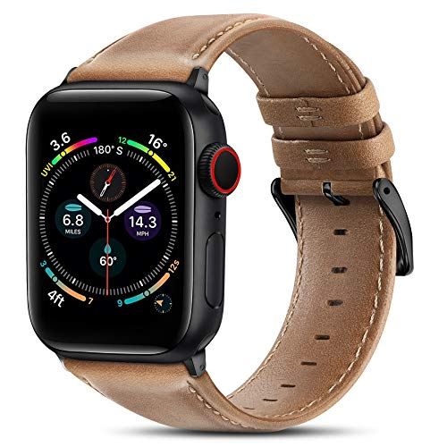 BRG Leather Bands Compatible with Apple Watch Band 44mm 42mm 40mm 38mm, Men Women Replacement Genuine Leather Strap for iWatch SE Series 6 5 4 3 2 1, Brown Band/Black Adapter, 44mm 42mm