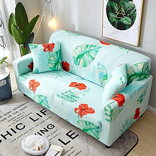 ASCV Funda de sofá elástica con patrón de Plumas Envoltura Ajustada Toalla de sofá Antideslizante Todo Incluido Funda de sofá seccional A5 1 Plaza