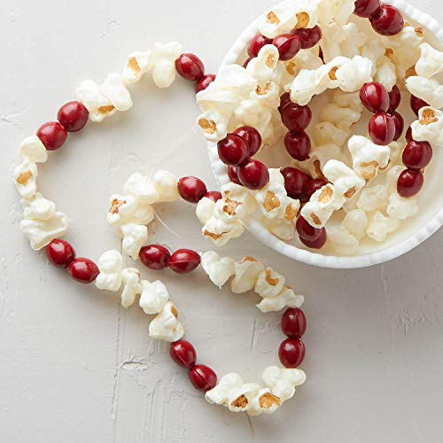 Factory Direct Craft 6 Foot Long Decorative Faux Cranberries and Artificial Popcorn Garlands for Your Holiday Christmas Tree - Set of 2