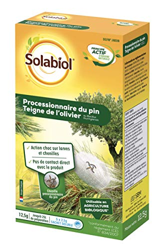 SOLABIOL SOPIN12 Procesionarios del Pino Bacillus-Tratamiento de choque eficaz sobre lágrimas y chenilles | Se puede utilizar en agricultura biológica, hasta 25 L de solución