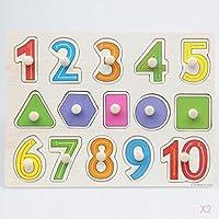 SM SunniMix 知育玩具 木製 パズル 数字パズル 文字パズル 動物パズル 車パズル 型はめパズル 早期学習教育 全6パタン - 数字