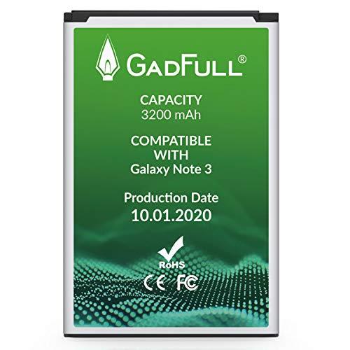 GadFull Batteria compatibile con Samsung Galaxy Note 3 | 2020 Data di produzione | Corrisponde al EB-B800BE originale | Compatibile con GT-N9000 | GT-N9005 | GT-N 9006 | GT-N9009