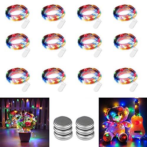 Qedertek LED Lichterkette mit Batterie, 12 Stück Kupferdraht Lichterkette Bunt 2M 20 LED, Flaschenlicht für Hochzeit, Party, Weihnachten Beleuchtung Deko (Kommen mit 6 Ersatzbatterien)