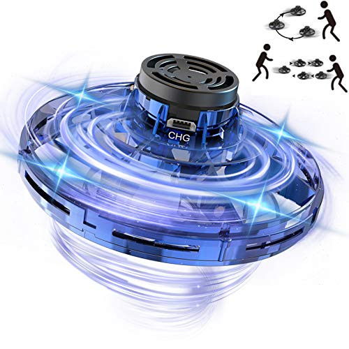 MELOPHY FlyNova Flying Toy, UFO Hand Operated Drone for Kids or Adults, Mini Flying Spinner Hands Free Scoot UFO Drones, Flying Ball Boomerang Toy Gifts for Boys and Girls with LED Lights (Blue)
