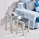 nozama Glass Nest of Tables Clear Nesting End Tables Set of 3 Sofa Side Coffee Tables for Living Room (Clear, Rectangle)