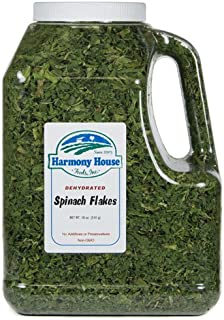 Harmony House Dried Spinach Flakes – Dehydrated Vegetables for Cooking, Camping, Emergency Supply and More (18 oz, Gallon Jug)