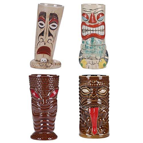 1. Set de 4 tazas de cóctel estilo Tiki o 4 vasos de cóctel hawaiano vasos de cóctel vasos de cóctel accesorios Tiki tazas de cerámica vasos de cóctel tazas de bebidas hawaianas fiesta barware