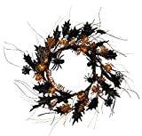 NeoL'artes 22inch Black Halloween Spider Wreath with Mapple Leaves and Ornaments Country Wreath Rustic Wreath for Home and Window Decor