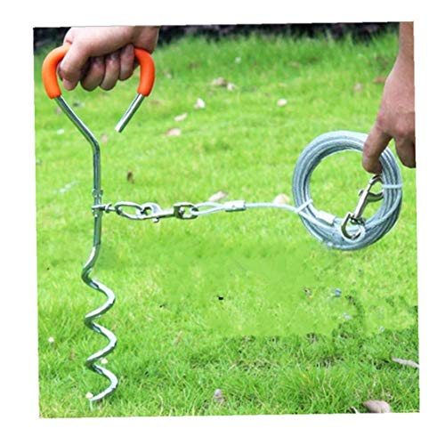 iHOMIKI Hund Stake mit Krawatte Out-Kabel, Leicht Dog Camping Outdoor-Einsatz Tie-Out 10Ft Kabel für Medium Large Pet Dogs
