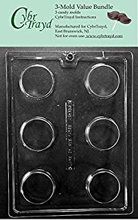 CybrTrayd AO138-3BUNDLE Plain Cookie Chocolate Candy Mold with Exclusive Copyrighted Chocolate Molding Instructions, Pack of 3