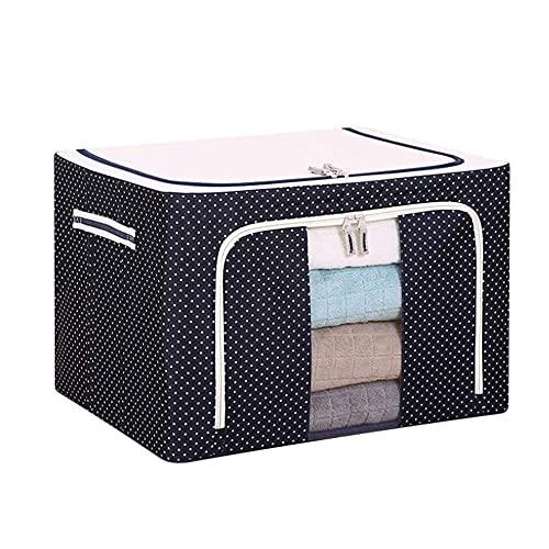 QLWY Aufbewahrungstasche Groß, Faltbare Stoffboxen, Kleideraufbewahrung mit Griff und Reißverschluss, wasserdicht für Schlafzimmer/Waschküche/Badezimmer (50x40x33cm/66L,G)